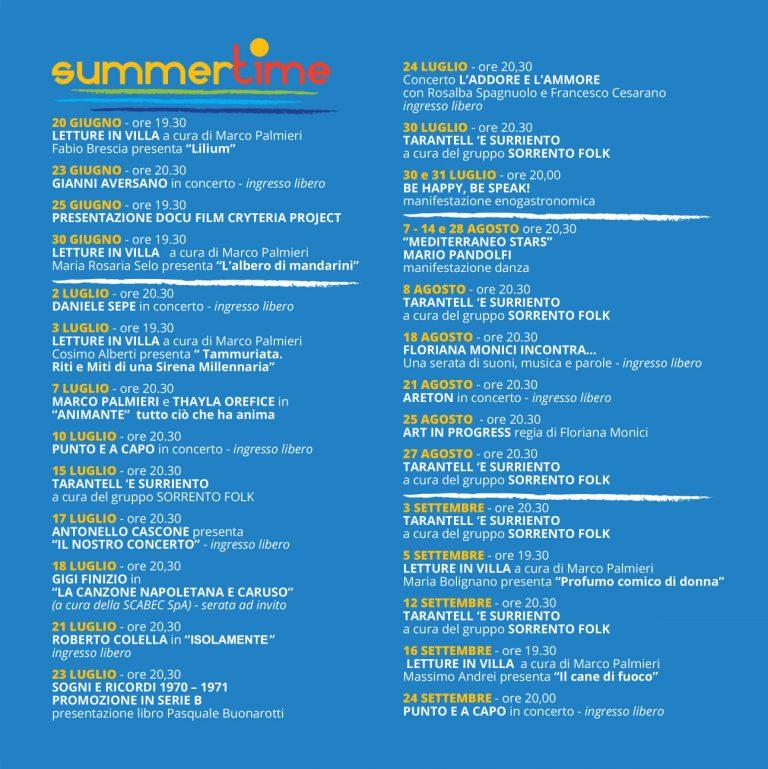 Eventi Estate 2021 Sorrento Programma Summer Time Villa Fiorentino