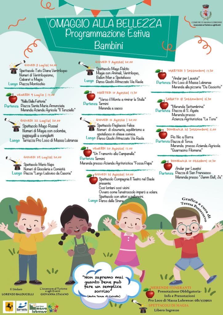Attività per bambini estate 2021 Massa Lubrense About Sorrento Omaggio alla Bellezza