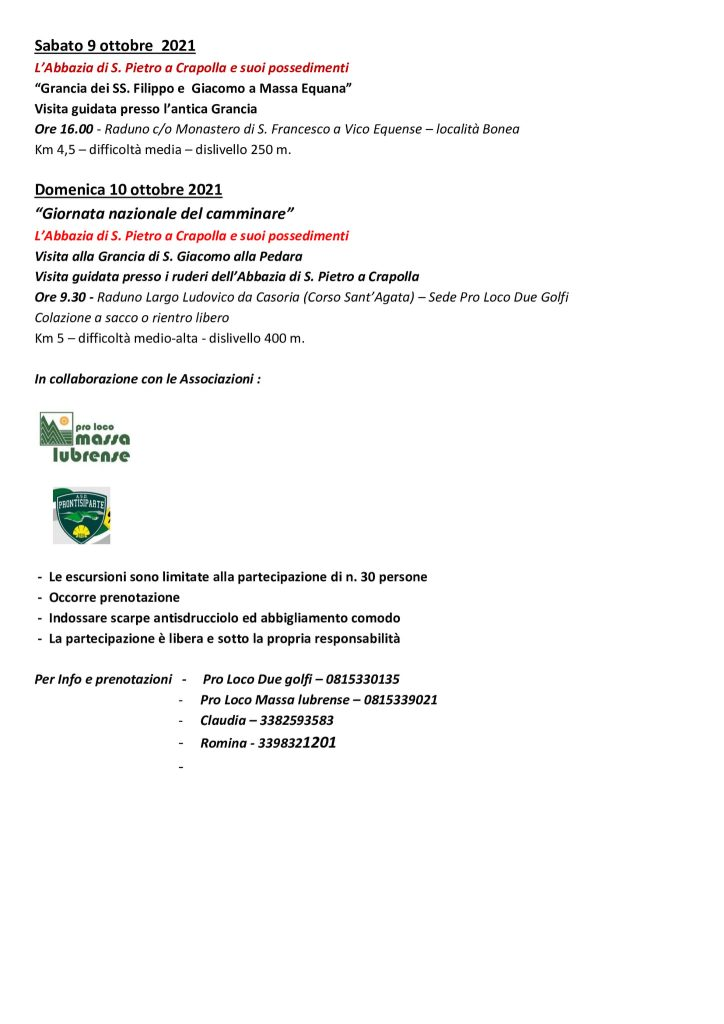 Eventi ottobre 2021 Massa Lubrense Trekking Fest Programma 2