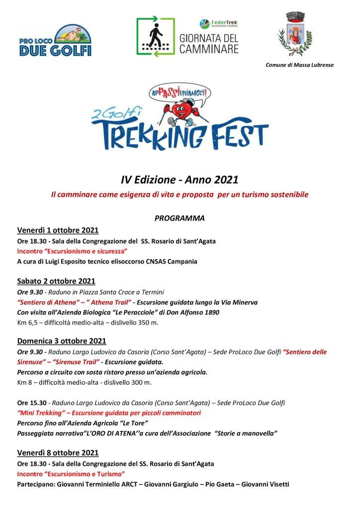Eventi ottobre 2021 Massa Lubrense Trekking Fest Programma