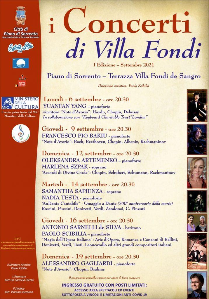 Eventi settembre 2021 Piano di Sorrento I Concerti di Villa Fondi